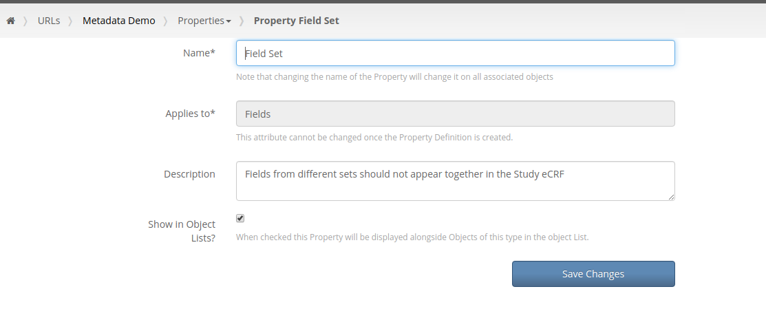 Field Set Property